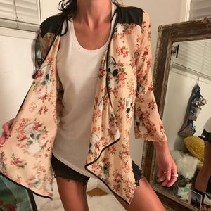 Skull and leather cropped kimono